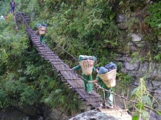 A dodgy suspension bridge.