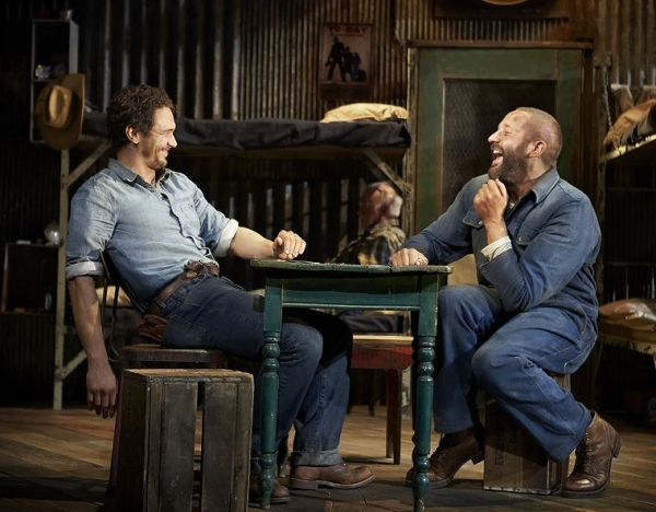 James Franco as George and Chris O'Dowd as Lennie in John Steinbeck's Of Mice and Men, directed by Anna D. Shapiro, at the Longacre Theatre. (© Richard Phibbs) (source)